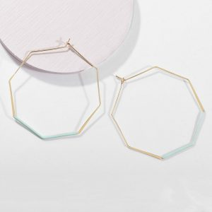 Fashion Smooth Octagon Big Hoop Earrings For Women Geometric Hollow Hoop Earrings Simple Personality Party Prom Jewelry