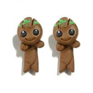 Cartoon Handmade Clay Earrings Pottery Tree Branch Doll Earrings